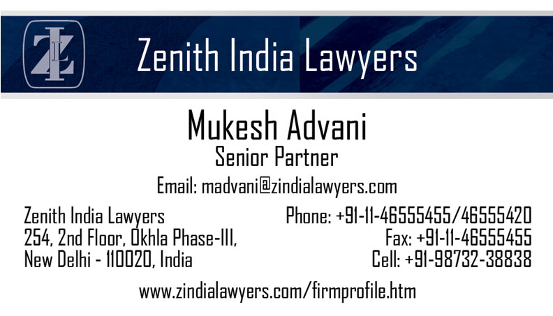 Zenith India Lawyers Business Card