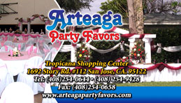 Arteaga Party Favors  Full Color Business Card  and Graphic Design