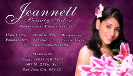 Jeanett Beauty Salon Full Color Business Card and Graphic Design
