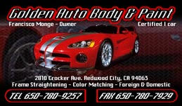 Golden Auto Body Full Color Business Card  and Graphic Design