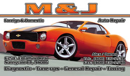 M&J Auto Repair Full Color Business Card  and Graphic Design